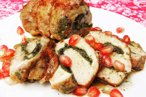 Pomegranate Glazed Pork Loin with Pistachio Pesto