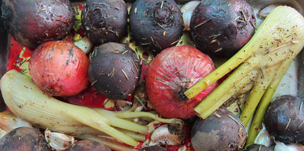 Roasted Beets, Fennel, Shallots, and Garlic