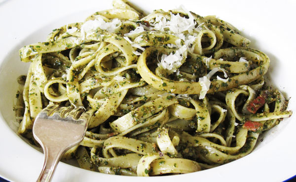 Spinach Pesto with Pancetta...tossed with pasta.