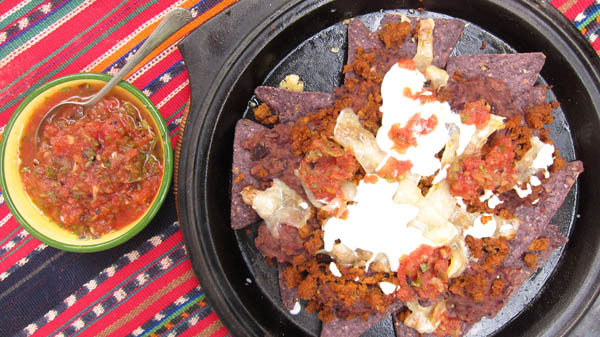 Blue Corn Nachos with Mexican Chorizo