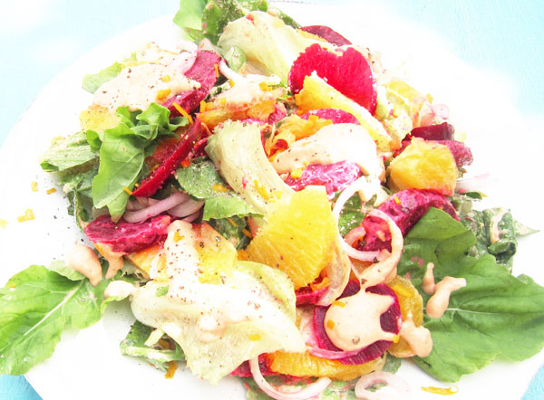 Summer Baby Beet and Orange Salad with Romesco Dressing