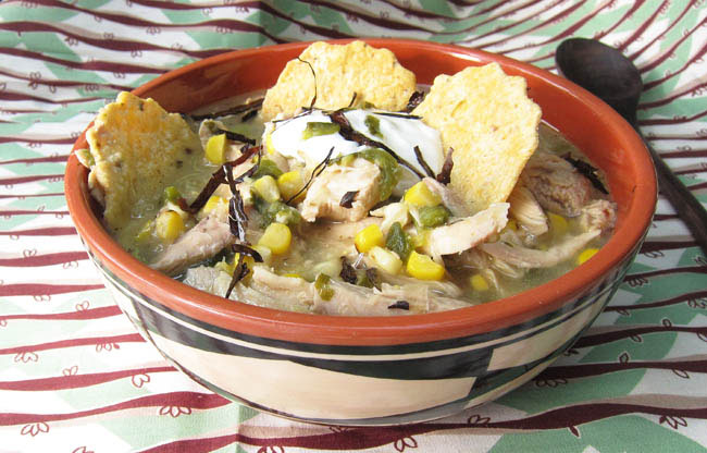 Green Chile Corn Soup with chicke