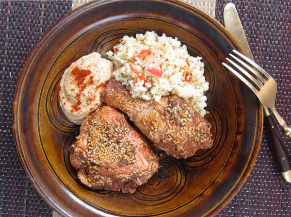 Sumac Roasted Chicken with Bulgar and Hummus