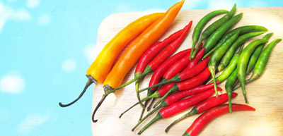 Thai Yellow, Red, and Green Chilies