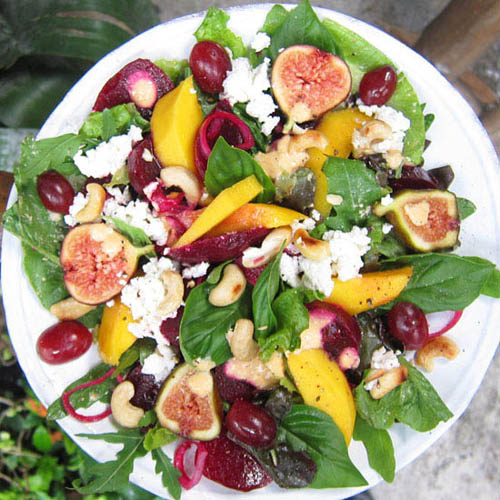 Beet Root Salad with Mango and a Cashew Dressing