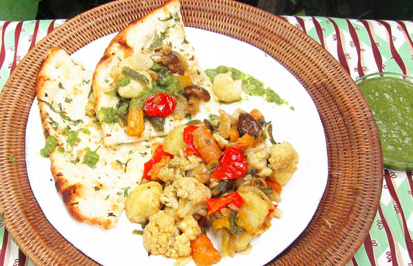 Sheet-pan Roasted Vegetables on Naan with Coriander Chutney