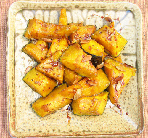 Roasted Kabocha Squash Drizzled with Pomegranate Syrup