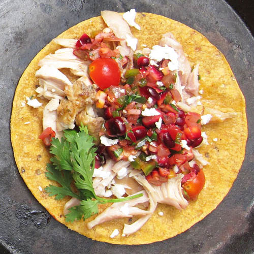 Red Sweetcorn Salsa Fresca on soft taco