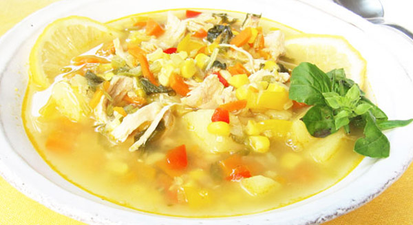 Summery Vegetable Soup with Chicken