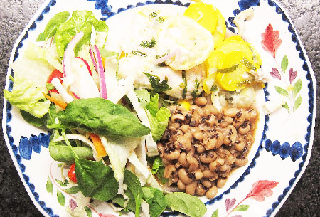 Black Eye Peas with Cod in Papapillote