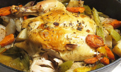 Dutch Oven Roasted Chicken and vegetables
