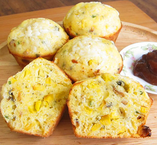 Cornbread muffins with grilled corn, jalapenos, and cheddar